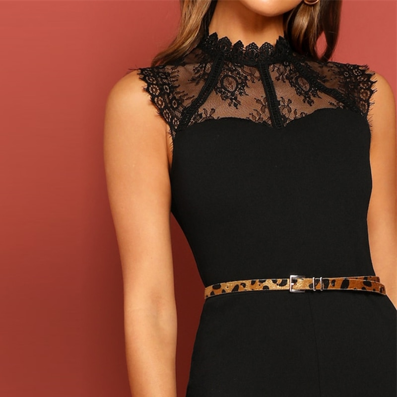Women's Lace Embroidery Elegant Belted Jumpsuit