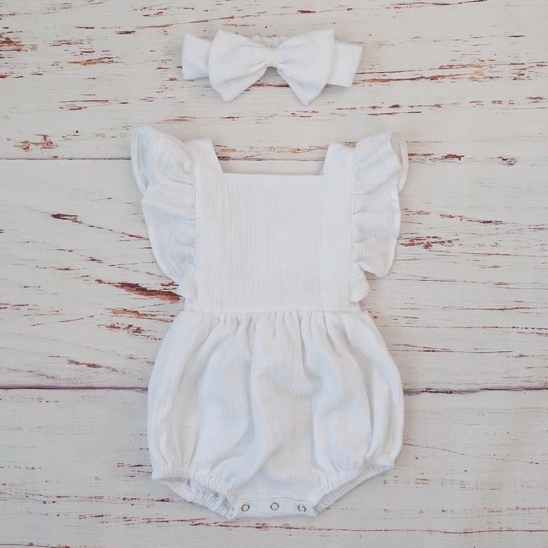 Cotton Romper and Headband with Bow
