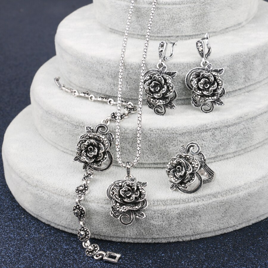 Crystal Rose Ring, Necklace, Earrings and Bracelet Set